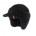 Peaked Knitted Beanie Hate Black One Size