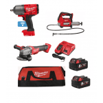 "3 Piece Farmer Kit, M18GG Grease Gun, M18CAG115XPDB Angle Grinder, 1/2"" Impact Wrench M18ONEFHIWF12"