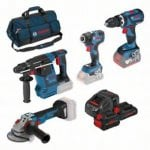 18v 4 Piece Cordless Tool Set 3 Batteries Charger + Bag