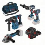 18v Cordless 4 Piece Tool Set 3 Batteries Charger + Bag