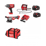 "3 Piece Farmer Kit, M18GG Grease Gun, M18CAG115XPDB Angle Grinder, 1/2"" Impact Wrench M18FHIWF12"