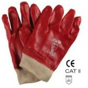 PVC Knitwrist Gloves Red