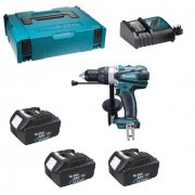 DHP458RF3J 18v combi drill 3 x BL1830 3.0Ah batteries, charger and Makpac case