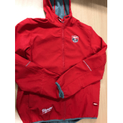 Red Softshell Jacket Zip Fastening
