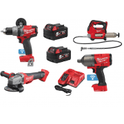 "M18FARMINGKIT2 18v 3/4"" Impact Wrench, Grease Gun, Grinder, Drill Kit"