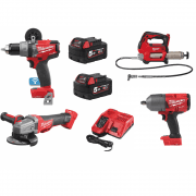 "18v Farming Kit 1/2"" Impact Wrench, Grease Gun, Angle Grinder & Drill"