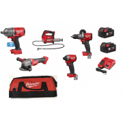 "Farming Kit 5 Piece 3/4"" Impact Wrench, Grinder, Grease Gun, Drill, Impact Driver"